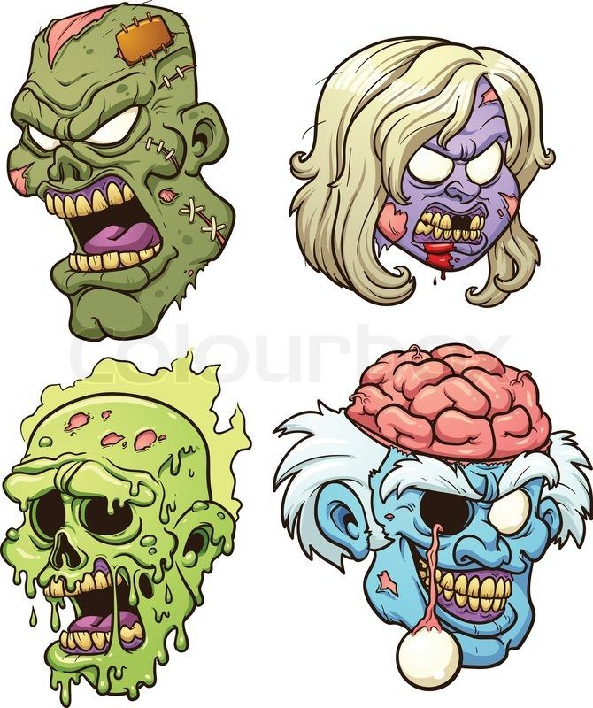 Stock of cartoon heads. Zombie clipart vector
