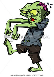 A with an exposed. Zombie clipart walking