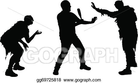 Vector stock illustration . Zombie clipart zombie attack