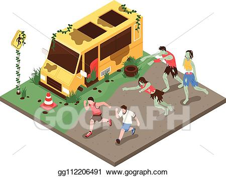 Vector stock isometric composition. Zombie clipart zombie attack