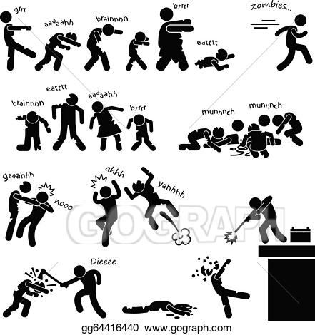 Zombie clipart zombie attack. Vector art undead apocalypse