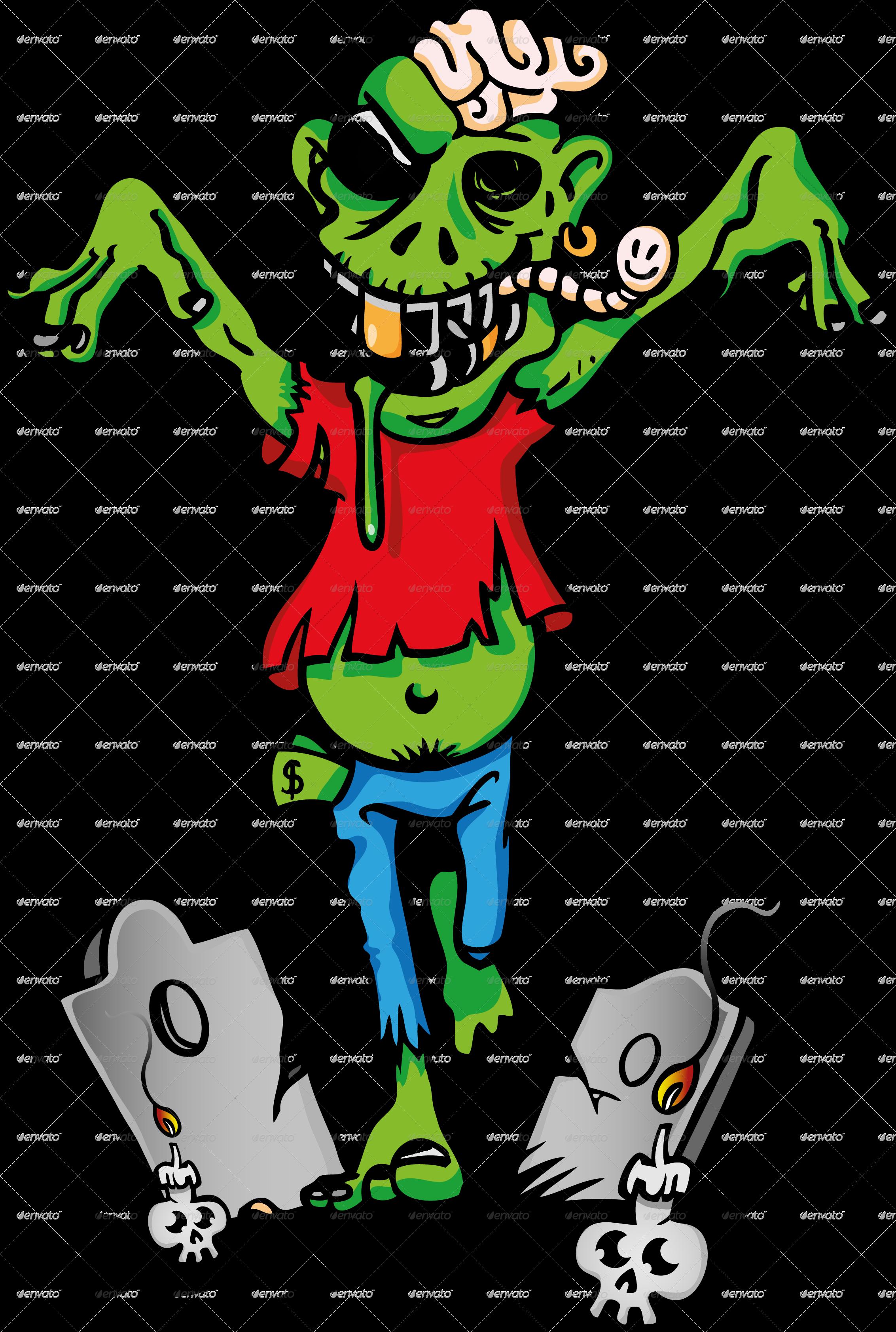 Cartoon by doomko graphicriver. Zombie clipart zombie brain