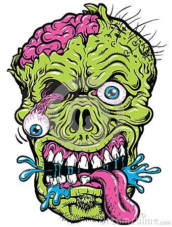 Zombie clipart zombie head. Vector of a detailed