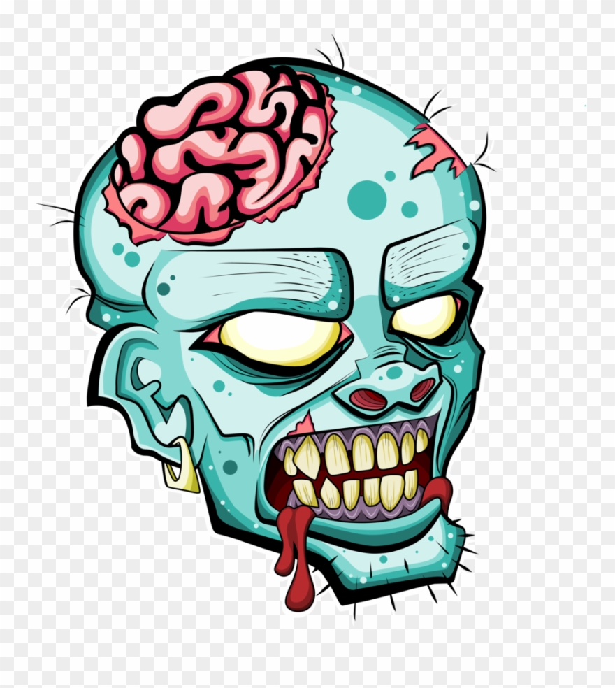 Png black and white. Zombie clipart zombie head