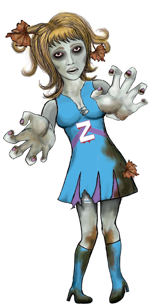 Zombie clipart zombie lady. A holding her removed