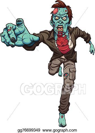 Vector illustration running stock. Zombie clipart zombie run