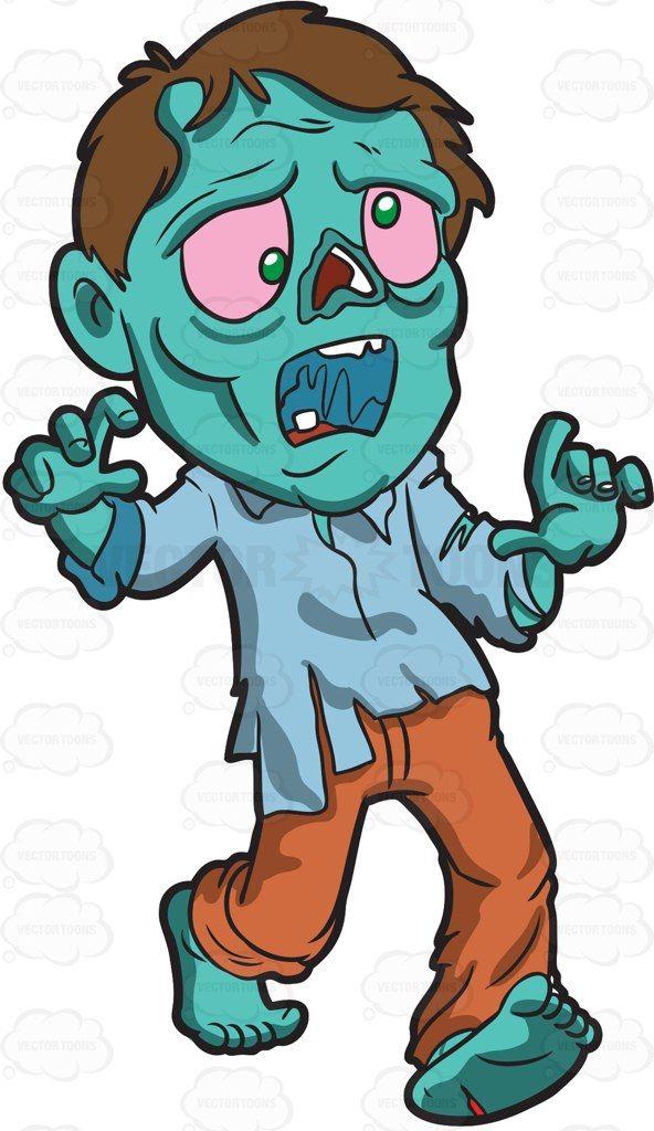 A running cartoon vector. Zombie clipart zombie run