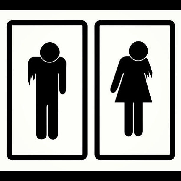 Bathroom signs all hallows. Zombie clipart zombie sign