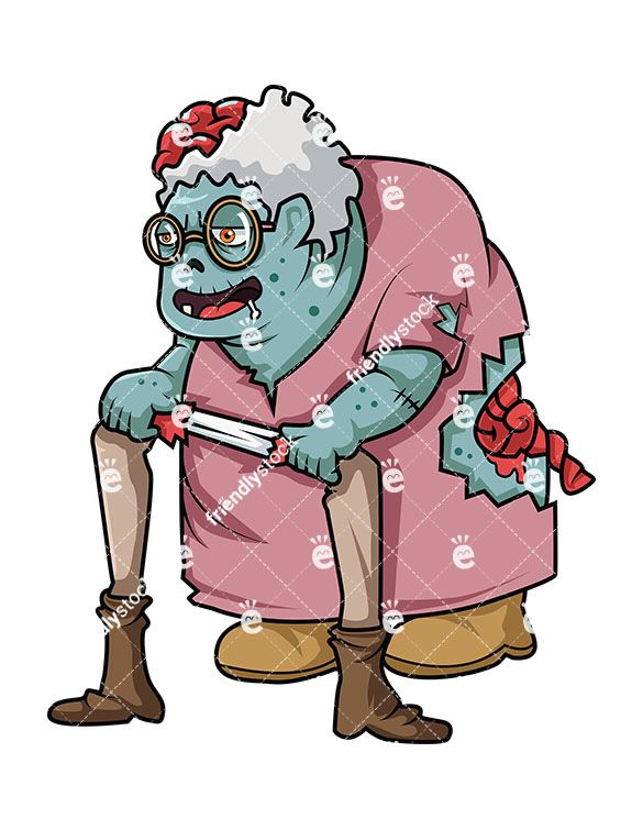 Zombie clipart zombie woman. Old lady cartoon