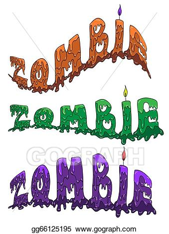 Eps illustration in three. Zombie clipart zombie word