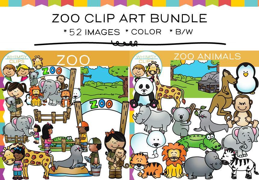 Zoo clipart. Clip art bundle images