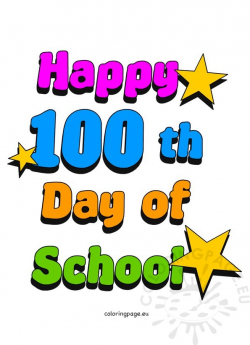 100th Day of School Clip Art | Coloring Page