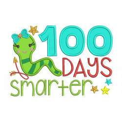 100 Days Smarter Girl Book Worm School Applique Machine Embroidery ...