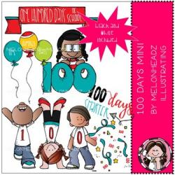 100 Days of School clip art - Mini - by Melonheadz by Melonheadz