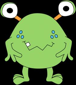 free cute monster clip art | Two-Eyed Green Monster Clip Art Image ...