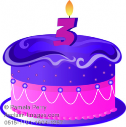 cartoon birthday cake with a 3 candle clipart & stock photography ...