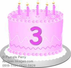 Clip Art Image of a Pink Birthday Cake With the Number 3