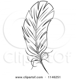 1146251-Clipart-Of-A-Black-And-White-Feather-3-Royalty-Free-Vector ...