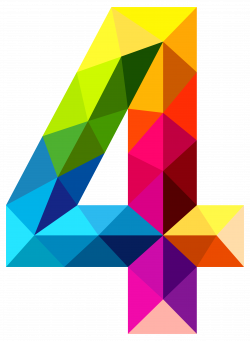 4 four | Colourful Triangles Number Four PNG Clipart Image ...
