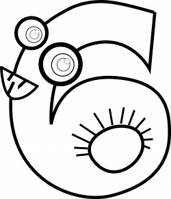 Clipart - Animal Number Six Outline