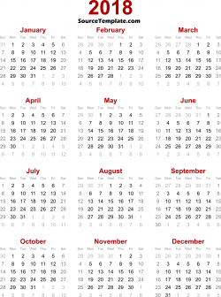 2018 Calendar Clipart Printable Template Free Download - Source Template