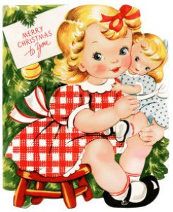 retro christmas card, girl and doll clipart, vintage printable ...