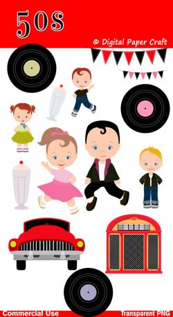 50s Clipart, Children Clipart, 1950 Clipart, Rock N Roll Clipart ...