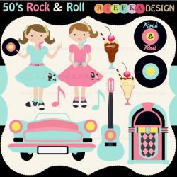 50's Rock and Roll Clipart Set. $5.50, via Etsy.   Party Themes ...