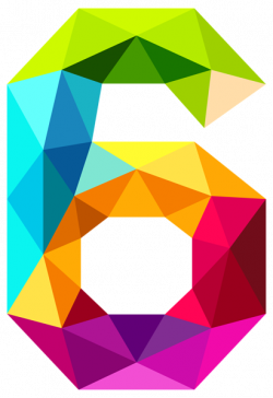Colourful Triangles Number Six PNG Clipart Image | colorful numbers ...