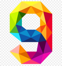 Triangular number Color Clip art - Colourful Triangles Number Nine ...