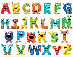 Alphabet Clipart - Monster ABC (Boy) | Printable letters, Banners ...
