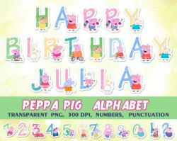 Peppa Pig Alphabet, clipart, Peppa pig birthday banner, birthday ...