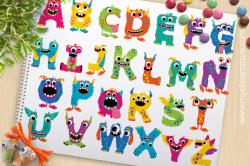 Fun Monster ABC, Monster Alphabet Vector | Premium Vector and ...