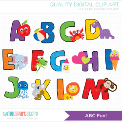 Alpha - ABC Fun Alphabet Clipart - Back to School / Learn To Read ...