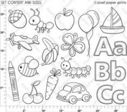 Alphabet Digital Stamps Part 1 - ABC clip art - School clipart ...