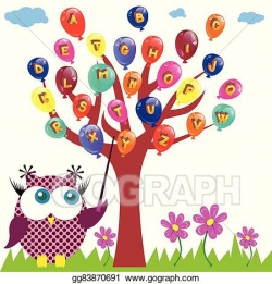 Vector Art - Owl is teaching the abc. Clipart Drawing gg83870691 ...