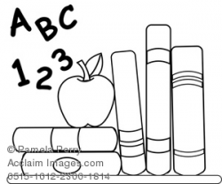 Clip Art Image of School Books With an Apple for Teacher Coloring Page