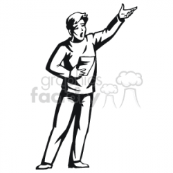black and white image of a guy acting on stage clipart. Royalty-free  clipart # 160599