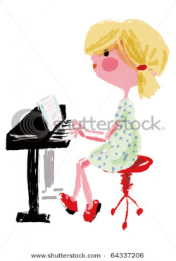 Girl Playing Piano Drawing at GetDrawings.com | Free for personal ...