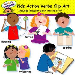 Kids Action Verbs Clip Art by TeachersScrapbook | TpT
