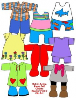 Kids in Action: Paper Doll Clothes Booster Pack 1 Clip Art 99 PNGs ...