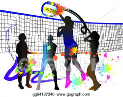Drawing - Volleyball sport. Clipart Drawing gg64137340 - GoGraph
