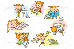 Little boy's and girl's daily activities by Optimistic Kids Art ...