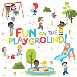 Children at the Playground Activities Clip Art, Kids Playing Clipart,  Children Outdoors, Park, Teacher clipart, Transparent Kawaii kids