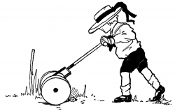 Vintage Summer Clip Art - Boy with Lawn Mower - The Graphics Fairy