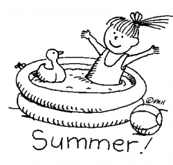 Summer Activities Black And White Clipart