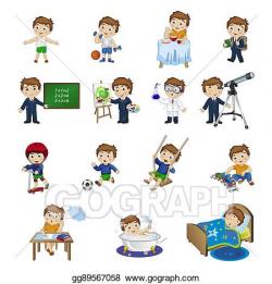 Vector Stock - Cartoon boy's daily activities. Clipart Illustration ...