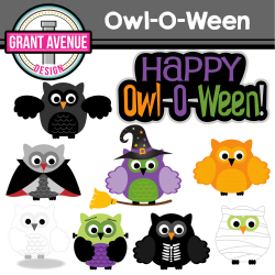 Grant Avenue Design - Halloween Owls Clipart