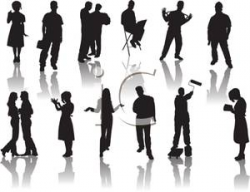 A Silhouette of a Group of People Involved In Different Activities ...