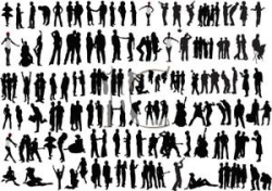 A Silhouette of a Large Group of People Doing Different Activities ...